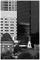 Church and downtown high rise buildings. Orlando, Florida, USA ( black and white)