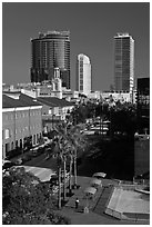 Modern and historic buildings in downtown. Orlando, Florida, USA ( black and white)