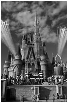 Daytime fireworks and stage show, Cindarella castle. Orlando, Florida, USA ( black and white)