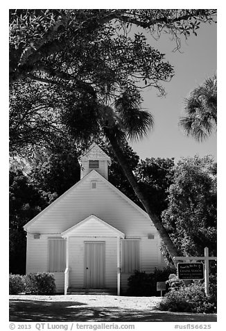 Chapel by the Sea, Captiva Island. Florida, USA (black and white)