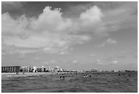 Sarasota skyline seen from Siesta beach waters. Florida, USA ( black and white)