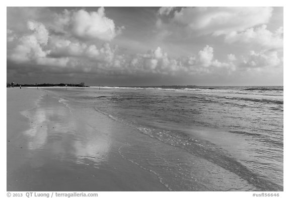 Sky reflecting in wet sand, Fort De Soto beach. Florida, USA (black and white)