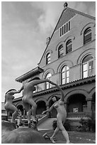 Modern sculpture in front of Custom House. Key West, Florida, USA (black and white)