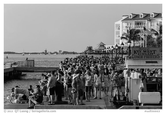 Crowd gathered for sunset in Mallory Square. Key West, Florida, USA (black and white)