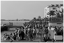 Crowd gathered for sunset in Mallory Square. Key West, Florida, USA ( black and white)