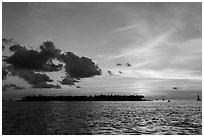 Sunset Island at sunset. Key West, Florida, USA ( black and white)