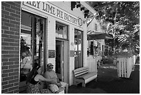 Key Line Pie Factory with customers. Key West, Florida, USA ( black and white)