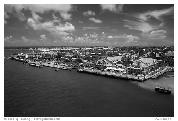 Waterfront. Key West, Florida, USA (black and white)