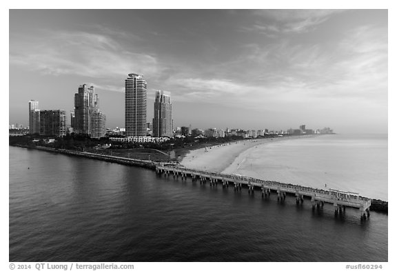 Miami beach at sunrise. Florida, USA (black and white)