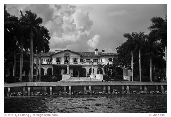 Mansion with waterfront. Coral Gables, Florida, USA (black and white)