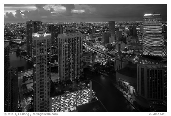 Miami Skyline at dusk with Miami River and Brickell District, Miami. Florida, USA (black and white)