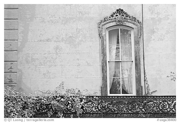 Window and wall, historical district. Savannah, Georgia, USA (black and white)
