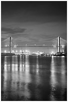 Savannah Bridge and lights at dusk. Savannah, Georgia, USA (black and white)