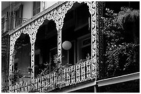 Wrought-iron laced balconies, French Quarter. New Orleans, Louisiana, USA ( black and white)