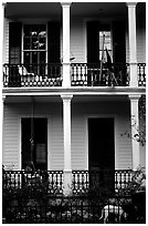 Mansion facade in Southern style, Garden Distric. New Orleans, Louisiana, USA ( black and white)