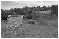 Union position markers on battlefield, Vicksburg National Military Park. Vicksburg, Mississippi, USA (black and white)