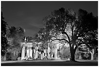 Antebellum mansion set in garden with  backlit oak tree at night. Natchez, Mississippi, USA (black and white)