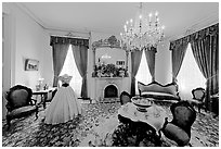 Living room in Rosalie house. Natchez, Mississippi, USA (black and white)
