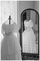 Dress and miror inside Rosalie. Natchez, Mississippi, USA (black and white)