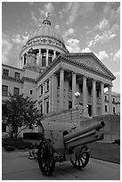 Cannon and Mississippi Capitol at sunset. Jackson, Mississippi, USA (black and white)