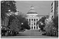 Street leading to Old Capitol at dusk. Jackson, Mississippi, USA (black and white)