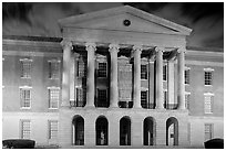 Old Capitol and State Historical Museum at night. Jackson, Mississippi, USA (black and white)