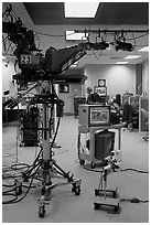 Television news studio. Columbia, South Carolina, USA (black and white)