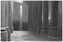 Columns and fog by night, state capitol. Columbia, South Carolina, USA ( black and white)