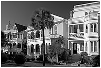 Row of Antebellum houses. Charleston, South Carolina, USA (black and white)