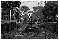 House garden at dusk. Charleston, South Carolina, USA (black and white)
