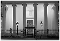 Museum facade at night. Charleston, South Carolina, USA (black and white)