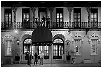 Mills house hotel facade with balconies at night. Charleston, South Carolina, USA (black and white)