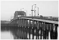 Bridge at sunrise. Beaufort, South Carolina, USA ( black and white)