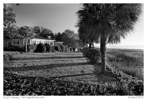 House with yard by the bay. Beaufort, South Carolina, USA (black and white)