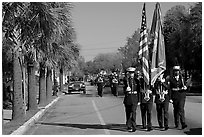 Marines carrying flag during parade. Beaufort, South Carolina, USA ( black and white)