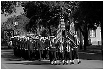 US Navy marching during parade. Beaufort, South Carolina, USA (black and white)