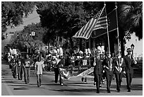 Beaufort high school band during parade. Beaufort, South Carolina, USA ( black and white)