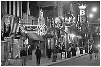 Beale Street sidewalk by night. Memphis, Tennessee, USA (black and white)