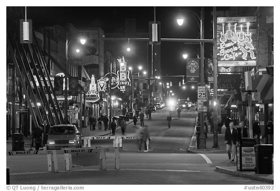 Beale Street at night. Memphis, Tennessee, USA
