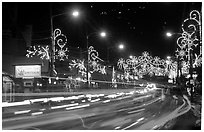 Christmas lights and traffic. Tennessee, USA (black and white)