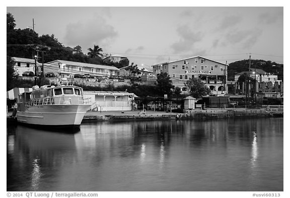 National Park Service harbor at dusk, Cruz Bay. Saint John, US Virgin Islands (black and white)