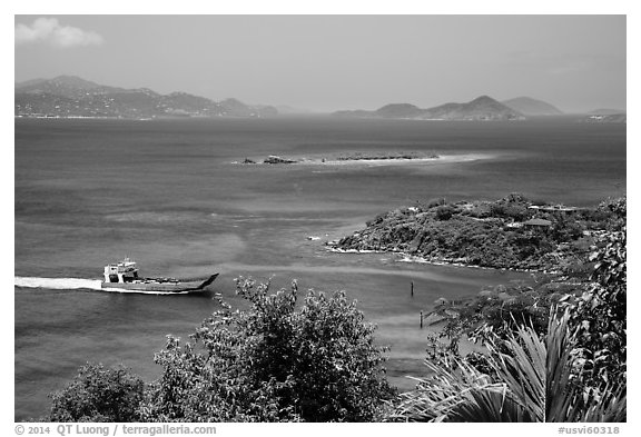 Car barge approaching harbor. Saint John, US Virgin Islands (black and white)