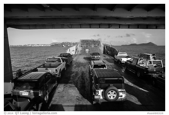 Car barge. Saint Thomas, US Virgin Islands (black and white)