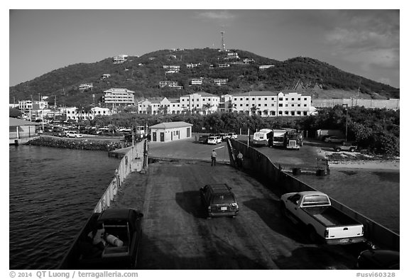 Car barge arriving at Red Hook harbor. Saint Thomas, US Virgin Islands (black and white)