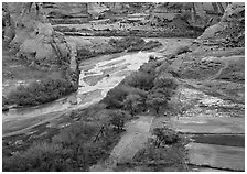 Farm on the valley floor of Canyon de Chelly. Canyon de Chelly  National Monument, Arizona, USA (black and white)