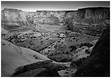 Canyon at dusk. Canyon de Chelly  National Monument, Arizona, USA (black and white)