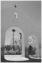 Arches and North Court, San Xavier del Bac Mission. Tucson, Arizona, USA ( black and white)