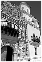 Facade and tower, San Xavier del Bac Mission. Tucson, Arizona, USA (black and white)