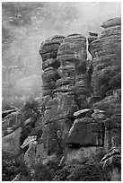 Pinnacles and fog. Chiricahua National Monument, Arizona, USA ( black and white)