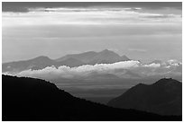 Desert mountains with storm clouds. Chiricahua National Monument, Arizona, USA ( black and white)